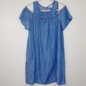 Lauren Conrad Denim Ruffle Cold Shoulder Dress L